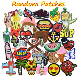 Wholesale Diy Clothes - 20PCS Random Patches for Clothing Iron on Transfer Applique Patch for Bags Jeans DIY Sew on All Kinds Embroidery Stickers Free Shipping