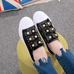 Wholesale Pictures Match - 2017 spring new women shoes pearl rivets satin face flat round single shoes women, women shoes and bags match, the latest design picture