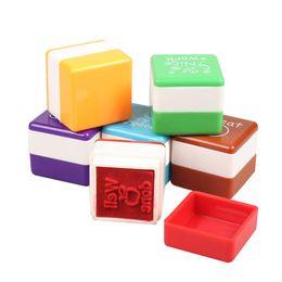 Wholesale Cute Teacher Stamps - New 6Pcs English Words Praise Cute Cartoon Kids Reward Stamp Printing Set for School Teachers Parents Scrapbooking Stamp