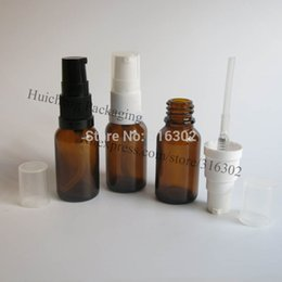 Wholesale Amber Glass Bottles 2oz - Wholesale- 200 lot,15ml amber glass essential oil bottle with pump,15cc amber lotion bottle, 1 2oz cosmetic container