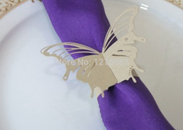 Wholesale Buckle Ring Cheap - Wholesale- Cheap paper napkin holder wedding napkin rings napkin ring holders buckles banquet Wedding Party Decorations butterfly F01