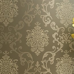 Wholesale Modern Damask Wallpaper - Wholesale-papel de parede. Non Woven Wallpaper Damask European Vintage Wallpaper wall Covering paper For Backdrop textured wall papers hom