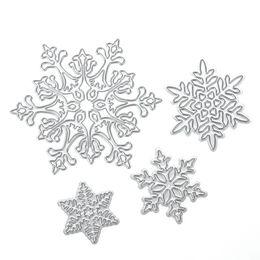 Wholesale Paper Albums - 4pcs set Snowflake Cutting Dies Christmas Metal Cutting Dies Stencils Die Cut for DIY Scrapbooking Album Paper Card Embossing