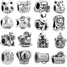 Wholesale Family Fit - free shipping MOQ 20pcs silver panda bird mouse mother family car pig big hole bead charm fit pandora european style bracelet necklace