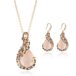Wholesale opal bridal set - Vintage Rhinestone Bridal Jewelry New Fashion rose Gold Opal Crystal Peacock Necklace Earrings Wedding jewellery Set for women