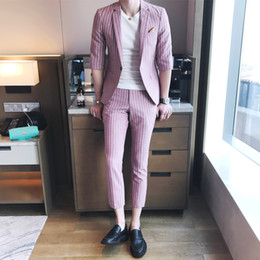 Wholesale Tuxedo Club Dresses - Wholesale- Summer Terno Masculino Slim Fit Pink Stripe Mens Suits 2017 Wedding Dress Suits Mens stylish tuxedo Club Outfits smokings Suits