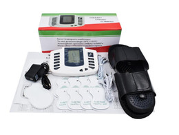 Wholesale Tens Therapy Slippers - New Russian button Electrical Muscle Stimulator Body Relax Muscle Massager Pulse Tens Acupuncture Therapy Slipper+8 Pads+box