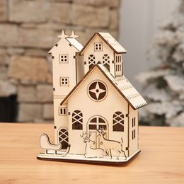 Wholesale Wooden House Decoration - Christmas Tree Decorations Led Light Chalet Wood house Christmas Decor For Home Xmas Gift For Kids Decorative Navidad Natal