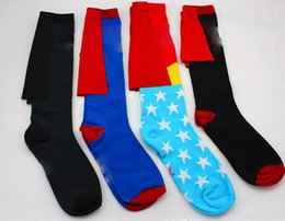 Wholesale Good Quality Women Socks - Cosplay superhero cape socks wonder women cotton knee Stockings good quality Big kids mens football socks Sports socks 5 styles