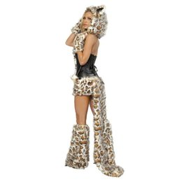 Wholesale Leopard Tail Costume - Autumn Halloween Costumes Set Dresses With Head Ear Tail For Women Sexy Black Leopard Print Character Cosplay Costumes Party Club