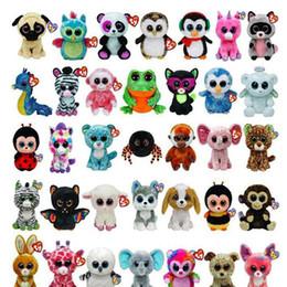 2019 máquina de imitación 50 unids Ty Beanie Boos Felpa Juguetes de Peluche Grandes Ojos Animales Muñecas Suaves para Niños Regalos de Cumpleaños Venta Caliente GB040