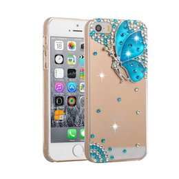 Wholesale Butterfly Galaxy Note Case - phone case 10 styles gittering diamond rhinestone butterfly PC crystal case for iphone 7 7s 6 6s plus samsung galaxy s6 s7 note 7