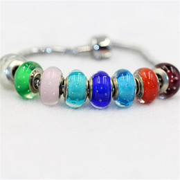 Wholesale Colorful Bubbles Necklace - Bubble Inside Murano Colorful Glaze Charm Bead 925 Silver Plated Fashion Women Jewelry European Style For Pandora Bracelet Necklace