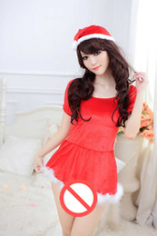 Wholesale Latex Sex Costumes - Free Shipping New Hot Sex Sexuality Casual Underwear Sexy Red Christmas Game Uniforms Temptation Set Pajamas Pajamas Play Skirt Role Play