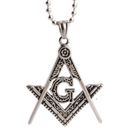 Wholesale Masonic Necklaces - Wholesale-Men's Silver Free Mason Pendant 316L Stainless Steel Freemason Masonic Pendant With Necklace