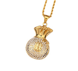 Wholesale Cool Fashion Bags For Men - Gold Plated Purse Pendant Necklace Crystal Rhinstone Dollar Sign Cool Fashion Money Bag Shape Hip Hop Men Jewelry For Gifts