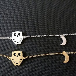Wholesale Owl Moon Charm - Wholesale-Vintage jewelry 2016 cutout stainless steel geometric owl bracelet 18k gold silver crescent moon bracelets for women