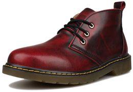 Wholesale Vintage Shoe Laces - Wholesale- Mens martins ankle Boots Leather botas moto zapatos hombre coturno Vintage Oxford Lace Up Outdoor Casual Retro Shoes Kunsto Brd