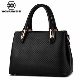 Wholesale pu process - Wholesale- 2017 New Arrival Brand Embossing Process Handbags For Women PU Leather Women Shoulder Bag Over Bag Bandolera Black Beige Color