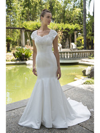 Wholesale Pricing Chart - Vestido De Noiva Mermaid Satin Modest Wedding Dresses 2017 With Cap Sleeves Informal Reception Wedding Dress New Arrival Cheap Price Sale