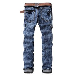 Wholesale Male Multi Pockets Pants - Fashion Mens Biker Jeans Pants Multi Pockets Slim Fit Pleated Motorcycle Denim Joggers Male Brand Designer Cargo Jean Trousers