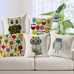 Wholesale Rooms Painted Gray - Blue Owls Trees Cushion Cover Square Cotton Linen Breathable Cushion Pillow Cover Hand-painted Throw Pillow Cases Living Room Bedroom Sofa