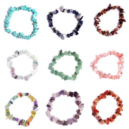 Wholesale Stone Bead Chips Bracelets - 13 Styles Bracelet Assorted Chips Stone Crushed Chunked Crystal Pieces Irregular Shaped Bright Beads Lover Gift Free DHL B521S