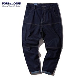 Wholesale Men S Brands Harem Pants - Wholesale-PORT&LOTUS Brand Men's Clothing Baggy Jeans Men Hip-Hop Mens Harem Pants Casual Denim Pant Jeans For Men YP008 5086 Wholesale