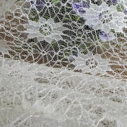 Wholesale Eyelet Flowers - White Polyester Fabric Hollow out Flowers Eyelet Trim Fabric for DIY Clothing Fabric for Wedding Dresses