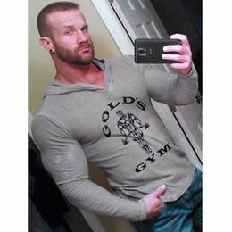 sottile mens hoody lungo Sconti Mens Gym Hoodie manica lunga Bodybuilding Felpa con cappuccio Uomo Tute sportive Canottiera Muscle Shirts Cotton Gym Abbigliamento
