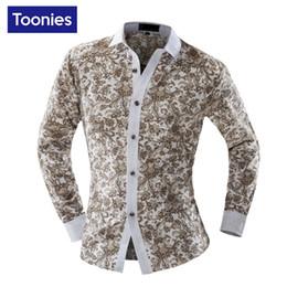 Wholesale Men Pattern Flower Shirt - Wholesale- 2017 Fashion Flower Pattern Men's Shirt Slim Fit Mens Shirts Casual Camisa Hombre Long Sleeve Overhemd Heren Social Man Camisas