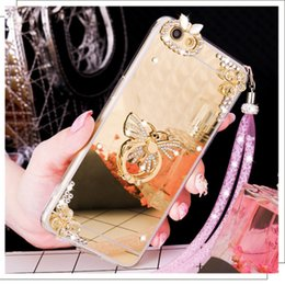Wholesale Lanyards Crystals - For Samsung galaxy note 3 4 5 8 Diamond Rhinestone Butterfly Mirror Soft Crystal finger ring Phone case handmade DIY lanyard