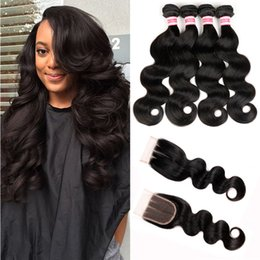 Wholesale Brazillian Natural Hair - HC Hair Unprocessed 4 Bundles Brazilian Body Wave With Lace Closure Brazillian Body Wave Hair Wefts Bundles With Closures HC Hair Product