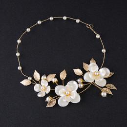 Wholesale Hair Accessories Flower Hoop - Free shipping manual pearl flower leaves hair hoop with hair hoop wedding accessories The bride of jewelrys