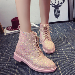 Wholesale Korean Boot Leather - Wholesale-2016 new winter influx of European and American sequined lace PU low cylinder boots Martin boots Korean female fashion round