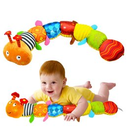 Wholesale Stuffed Animal Caterpillars - 2016 Baby Toys Musical Caterpillar Educational Toys With Ring Bell Stuffed Plush Animal Kids Toys Baby Rattles Mobiles 55cm