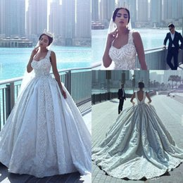 Wholesale Sexy Gothic Wedding Dresses - Latest Said Mhamad Luxury Gothic Wedding Dresses Square Neck Beads 3D Floral Appliques Pearls Bridal Gowns Ball Gown Vintage Wedding Gowns