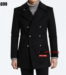 Wholesale Men S Woollen Coats - Men's winter of Europe and the United States han edition business high-end fashion hot style fine dust coat woollen coat   S-2XL