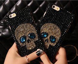 Wholesale Iphone4 Rhinestone Case - COOL 3D skull style Rhinestone diamond shiny bling cover case for iphone4 5S iphone6 6S iphone6 plus