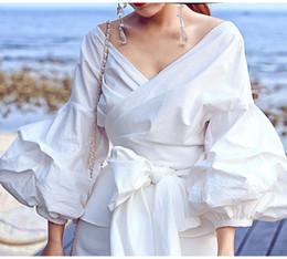 998ae862c648bb big sleeve white blouse Coupons - Fashion Runway Brand Designer Style Women Blouse  Big Lantern Sleeve