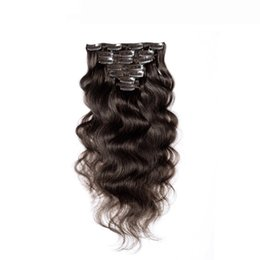 Wholesale online human hair extensions - Brazilian hair clip in human hair extension #2 darkest brown cheap hair extension online wholesale price factory direct sale