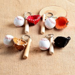 Wholesale baseball bat holder - Mixed Colors Baseball Gloves Wooden Bat Keychains 3 Inch Pack Of 12 Key Chain Ring Cartoon Keychain Best Christmas Gift