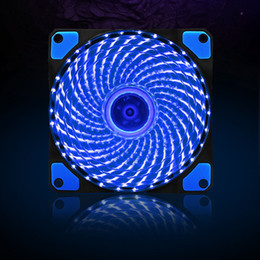 Wholesale Vibration Balls - Wholesale- 120mm PC Computer 16dB Ultra Silent 33 LEDs Case Fan Heatsink Cooler Cooling w  Anti-Vibration Rubber,12CM Fan,12VDC 3P IDE 4pin