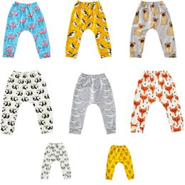 Wholesale Colorful High Waist Pants - INS Baby Flamingos Leggings Casual Cartoon Animal Pants Colorful Fox Panda Tiger Infant Long Trousers PP Pants