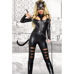 Wholesale Cat Suit Halloween Costumes - 2017 Christmas Europe and the United States fashion new Halloween black long-sleeved sexy cat female fight piece suit tights