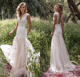 Wholesale Silver Bodice Wedding Dress - Limor Rosen 2017 Country Wedding Dresses Illusion Bodice Jewel Cap Sleeve Appliques Court Train Vintage Garden Beach Boho Bridal Gowns