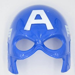 Wholesale Halloween Costume Captain America - Party Masks Halloween Captain America The Avengers Face Masquerade Masks Adult Cosplay Mask Costumes Plastic Man Festival Gift Day