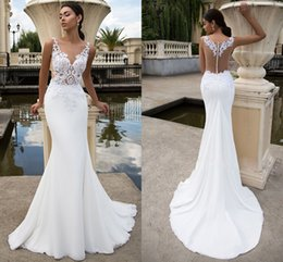 Wholesale Simple Mermaid Trumpet Satin - Evening Dress 2017 New Slim Fish Tail Long Lace V Neck Shirt Simple Satin Satin Bride Engagement