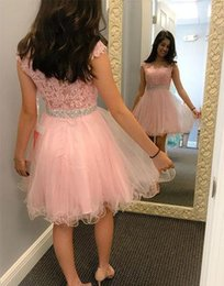 Cute Pink Tulle Lace Short Homecoming Dress A line Bateau Neckline Capped  Sleeves Beaded Waist Cocktail Dress cb9729636