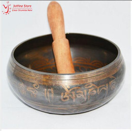 Wholesale Hand Carved Crafts - New 14.5cm Yoga Tibetan Singing Bowl Himalayan Hand Hammered Chakra Meditation Religion Belief Home Decoration With Hand Stick Metal Crafts